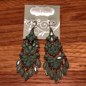 Maurices boho style teal and gold dangle earrings